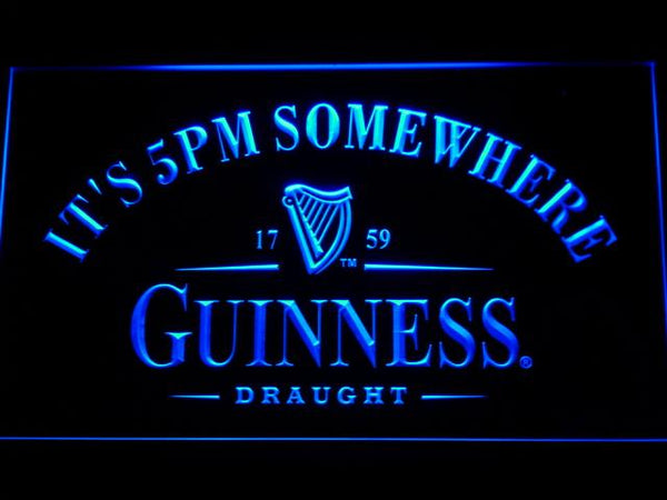 Guinness Draught It's 5pm Somewhere LED Neon Sign 091 - Blue