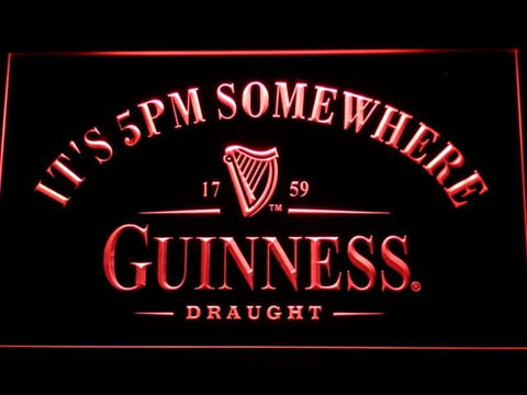 Guinness Draught It's 5pm Somewhere LED Neon Sign 091 - Red