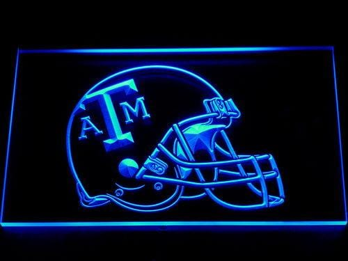 Texas A&M Aggies Helmet LED Neon Sign 109 - Blue