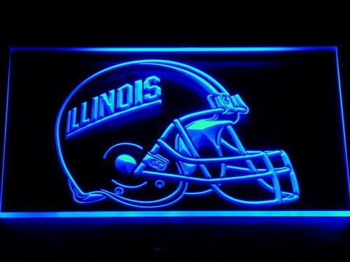 Illinois Fighting Illini Helmet Football LED Neon Sign 161 - Blue