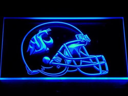 Washington State Cougars Helmet Football LED Neon Sign 189 - Blue