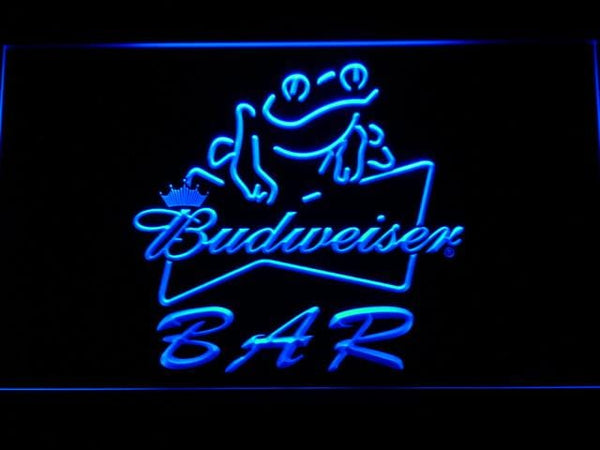 Budweiser Frog Bar LED Neon Sign 415 - Blue
