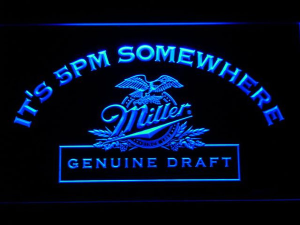 Miller Genuine Draft It's 5pm Somewhere LED Neon Sign 425 - Blue