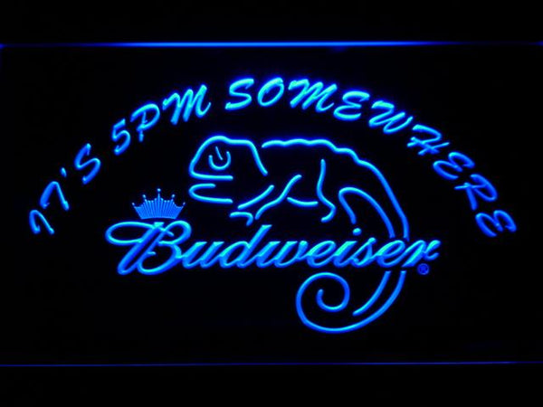 Budweiser Lizard It's 5pm Somewhere LED Neon Sign 443 - Blue