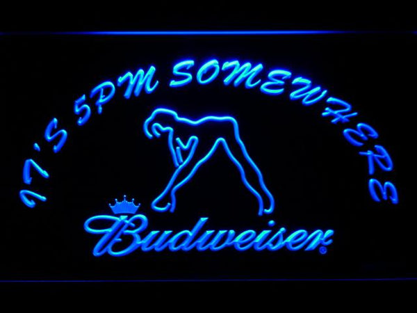 Budweiser Woman's Silhouette It's 5pm Somewhere LED Neon Sign 461 - Blue