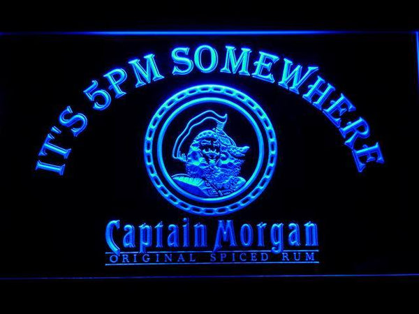 Captain Morgan It's 5pm Somewhere LED Neon Sign 494 - Blue
