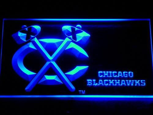 Blackhawks Bar Beer NHL LED Neon Sign 508 - Blue