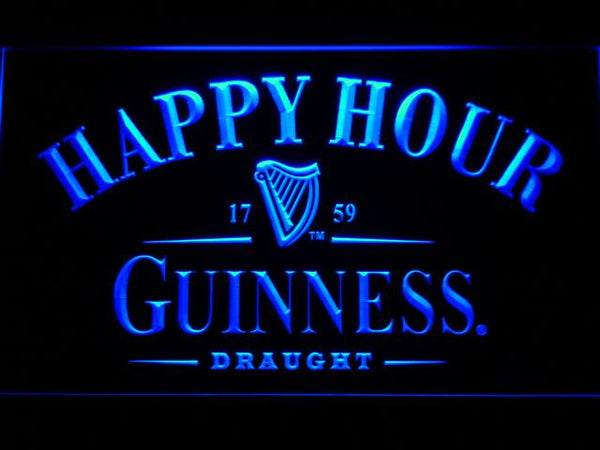 Guinness Draught Happy Hour LED Neon Sign 600 - Blue