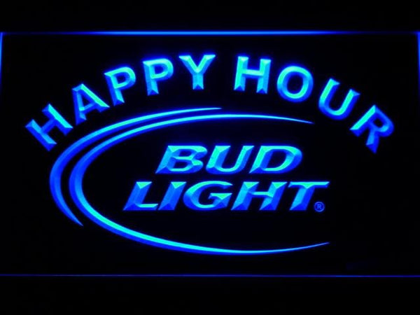Bud Light Beer Happy Hour LED Neon Sign 601 - Blue