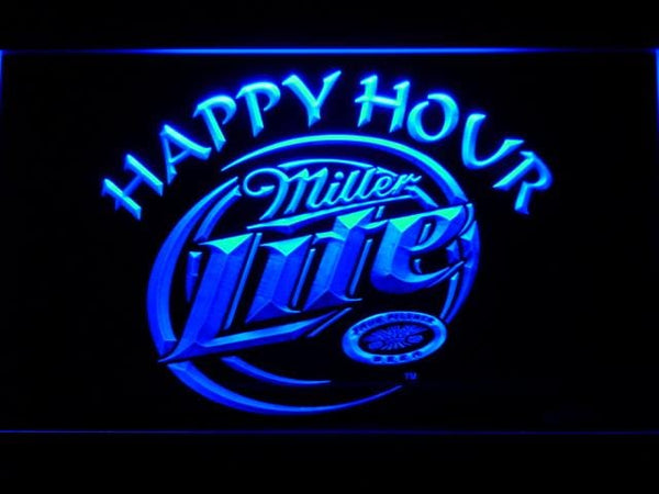 Miller Lite Happy Hour LED Neon Sign 605 - Blue