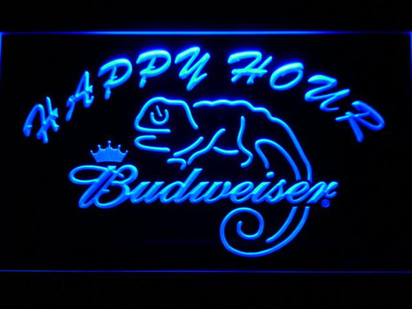 Budweiser Lizard Happy Hour Bar LED Neon Sign 619 - Blue