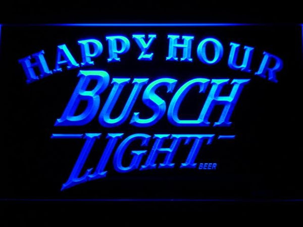 Busch Light Beer Happy Hour Bar LED Neon Sign 620 - Blue