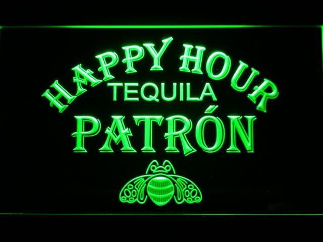 Patron Happy Hour LED Neon Sign 633 - Green
