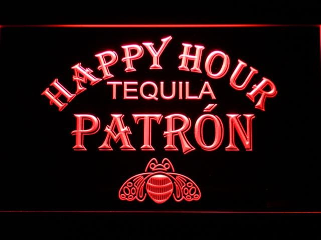 Patron Happy Hour LED Neon Sign 633 - Red