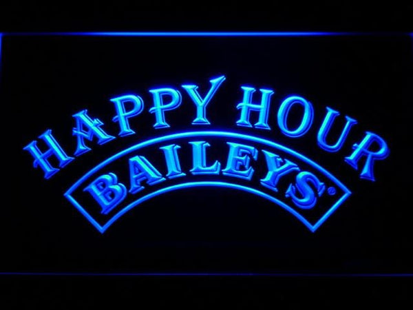 Baileys Happy Hour Bar LED Neon Sign 640 - Blue