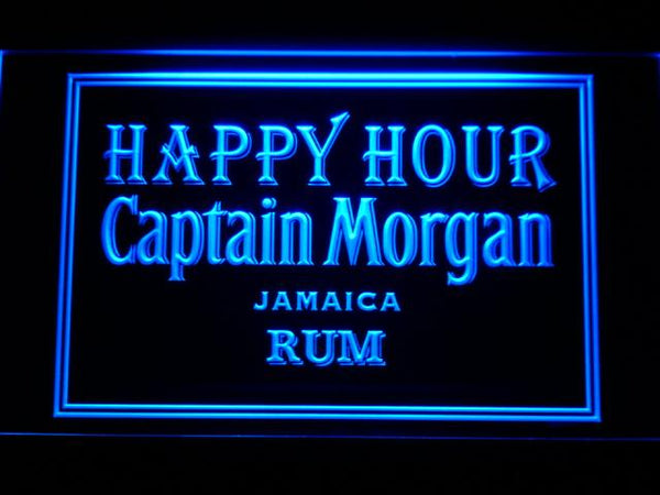 Captain Morgan Jamica Rum Happy Hour LED Neon Sign 641 - Blue