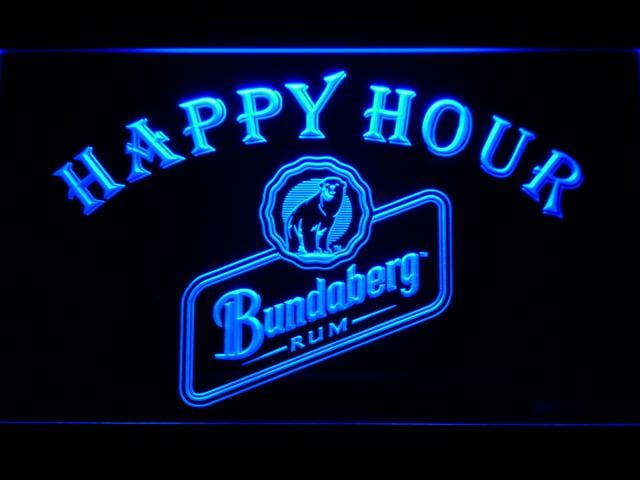 Bundaberg Rum Happy Hour LED Neon Sign 647 - Blue