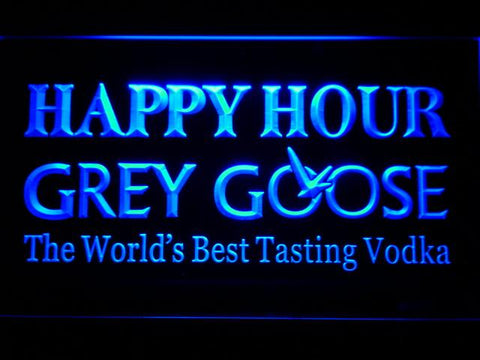 Grey Goose Vodka Happy Hour Bar LED Neon Sign 651 - Blue
