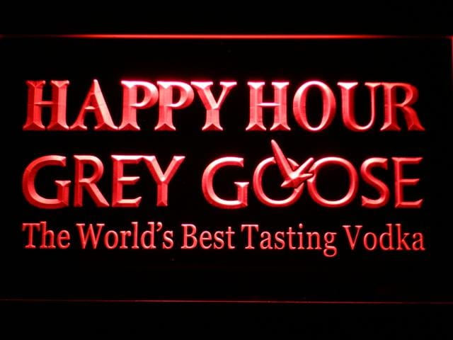 Grey Goose Vodka Happy Hour Bar LED Neon Sign 651 - Red