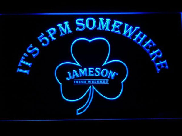 Jameson Shamrock It'S 5Pm Somewhere LED Neon Sign 682 - Blue