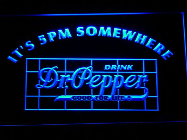 Dr Pepper It's 5pm Somewhere LED Neon Sign 688 - Blue