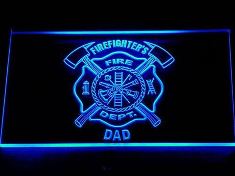 Fire Department Firefighter's Dad LED Neon Sign 712 - Blue
