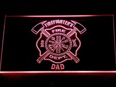 Fire Department Firefighter's Dad LED Neon Sign 712 - Red