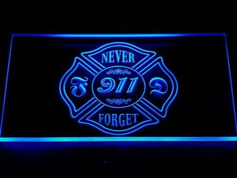Fire Department Never Forget 911 LED Neon Sign 727 - Blue