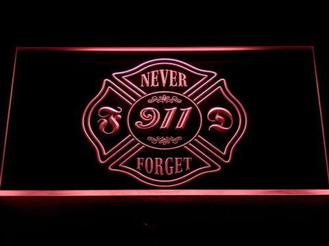 Fire Department Never Forget 911 LED Neon Sign 727 - Red