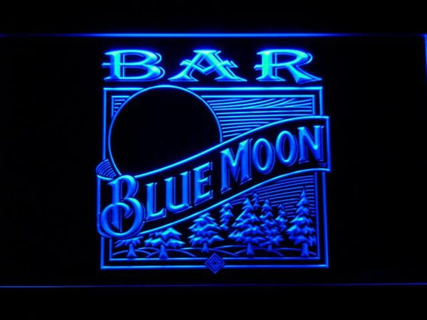 Blue Moon Old Logo Bar LED Neon Sign 807 - Blue