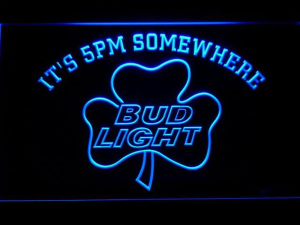 Bud Light Shamrock It'S 5Pm Somewhere LED Neon Sign 811 - Blue