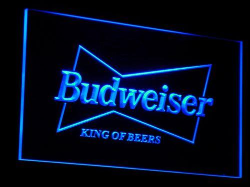 Budweiser King Of Beers LED Neon Sign a009 - Blue