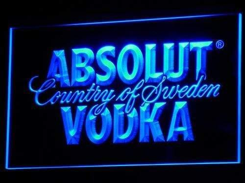 Absolut Vodka Country of Sweden Beer LED Neon Sign a025 - Blue