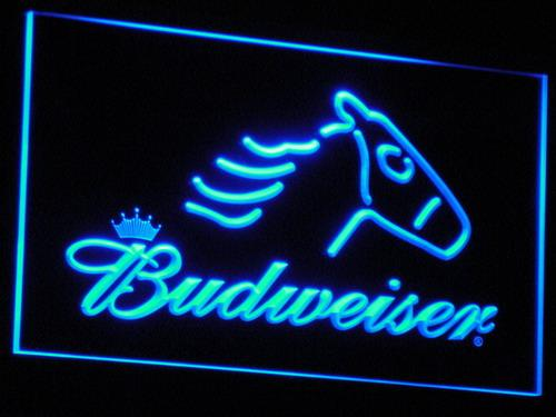Budweiser Horse LED Neon Sign a106 - Blue