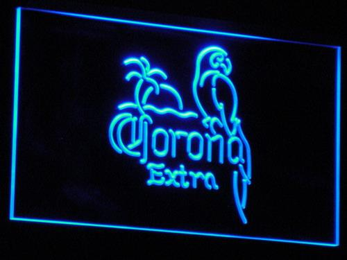 Corona Extra - Parrot Beer Open Bar  LED Neon Sign a108 - Blue