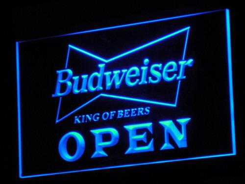 Budweiser Open Beer Nr Pub Bar LED Neon Sign a113 - Blue