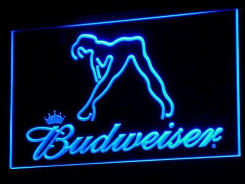 Budweiser Woman's Silhouette LED Neon Sign a133 - Blue