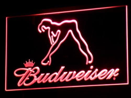 Budweiser Woman's Silhouette LED Neon Sign a133 - Red