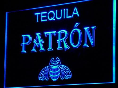 Patron Tequila Bar Beer Pub LED Neon Sign a143 - Blue