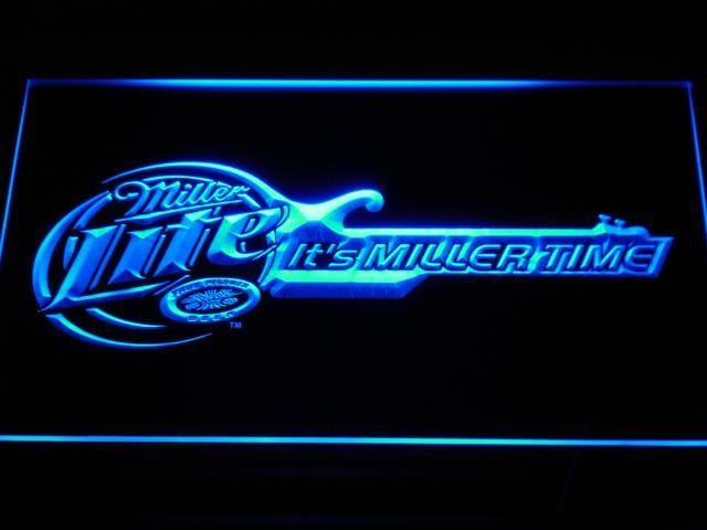Miller Lite Miller Time Guitar LED Neon Sign a155 - Blue