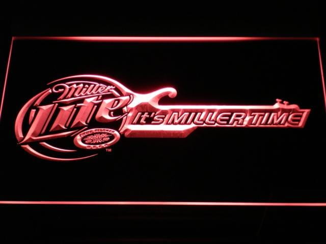 Miller Lite Miller Time Guitar LED Neon Sign a155 - Red