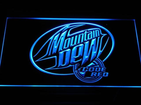 Mountain Dew Code Red LED Neon Sign a163 - Blue