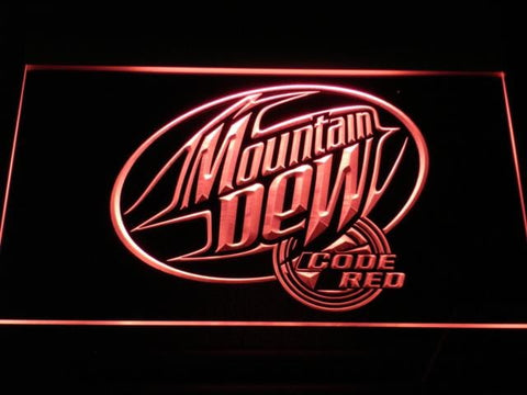 Mountain Dew Code Red LED Neon Sign a163 - Red