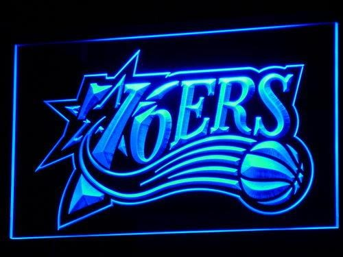 Philadelphia 76ers 1997-2009 Logo LED Neon Sign b022 - Blue