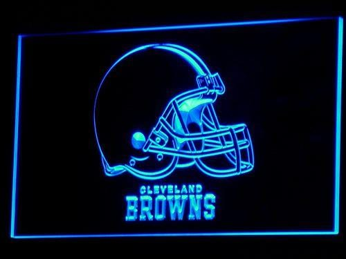 Cleveland Browns Helmet NFL LED Neon Sign b038 - Blue