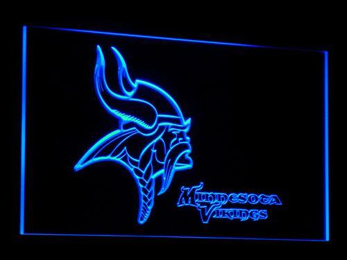 Minnesota Vikings Football LED Neon Sign b048 - Blue