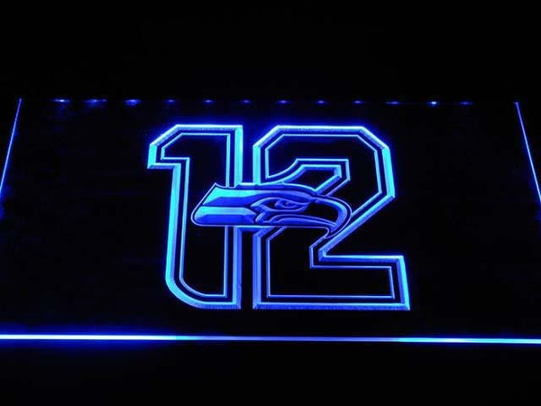Seattle Seahawks New 12th Man LED Neon Sign b1026 - Blue