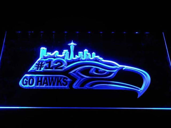 Seattle Seahawks 12th Go Hawks LED Neon Sign b1031 - Blue