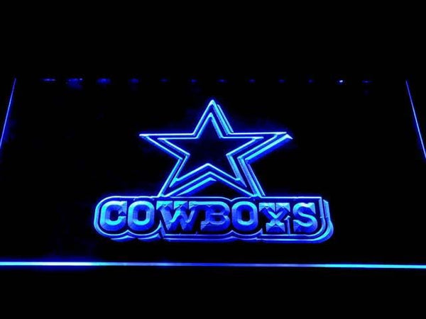 Dallas Cowboys Star Wordmark LED Neon Sign b1033 - Blue