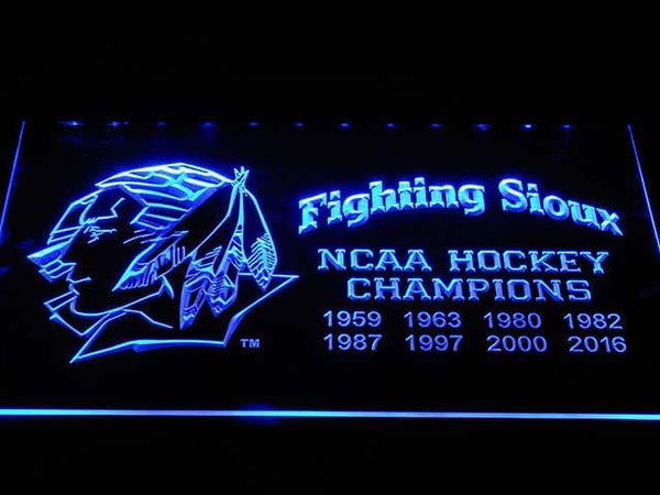 Fighting Sioux 2016 Chaimpions LED Neon Sign b1044 - Blue